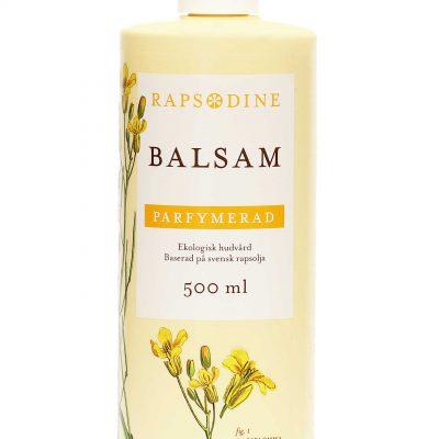500 ml Balsam i ljusgul förpackning. Cylinderformad med vitt lock. Parfymerad. Rapsblommor i gul färg målade. Rapsodine i gul text överst på förpackning.