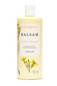 500 ml Balsam i ljusgul förpackning. Cylinderformad med vitt lock. Oparfymerad. Rapsblommor i gul färg målade. Rapsodine i gul text överst på förpackning.